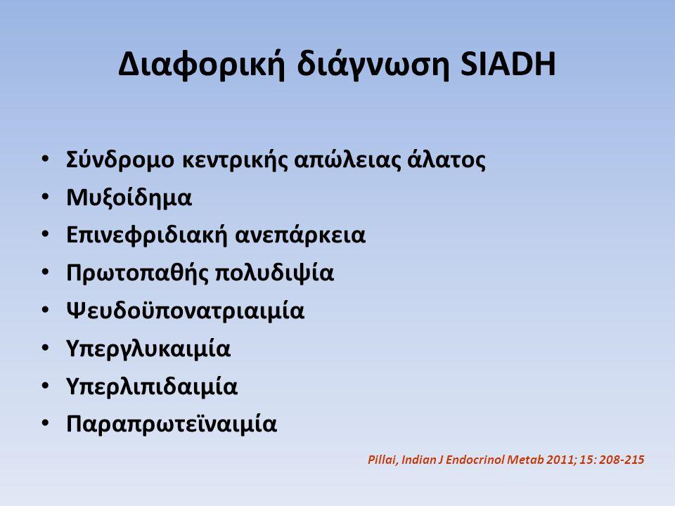 Διαφορική διάγνωση SIADH Σύνδρομο κεντρικής απώλειας άλατος Μυξοίδημα Επινεφριδιακή ανεπάρκεια Πρωτοπαθής πολυδιψία Ψευδοϋπονατριαιμία Υπεργλυκαιμία Υ