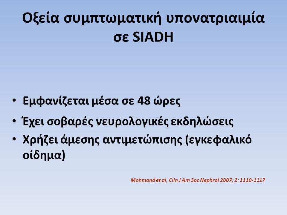 Οξεία συμπτωματική υπονατριαιμία σε SIADH Mohmand et al, Clin J Am Soc Nephrol 2007; 2: 1110-1117 Εμφανίζεται μέσα σε 48 ώρες Έχει σοβαρές νευρολογικέ