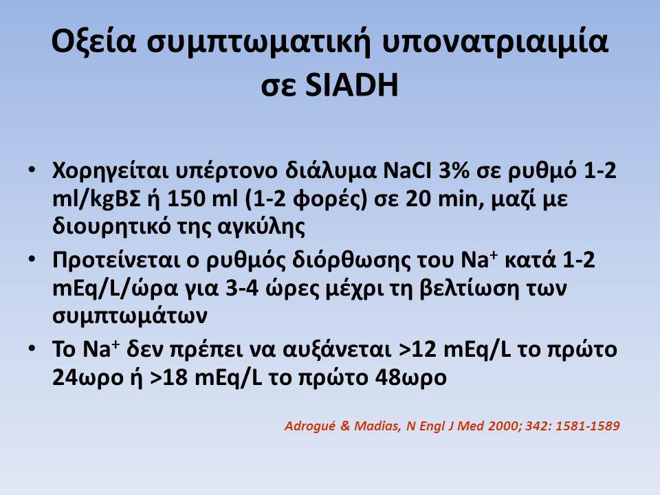Οξεία συμπτωματική υπονατριαιμία σε SIADH Χορηγείται υπέρτονο διάλυμα NaCI 3% σε ρυθμό 1-2 ml/kgΒΣ ή 150 ml (1-2 φορές) σε 20 min, μαζί με διουρητικό