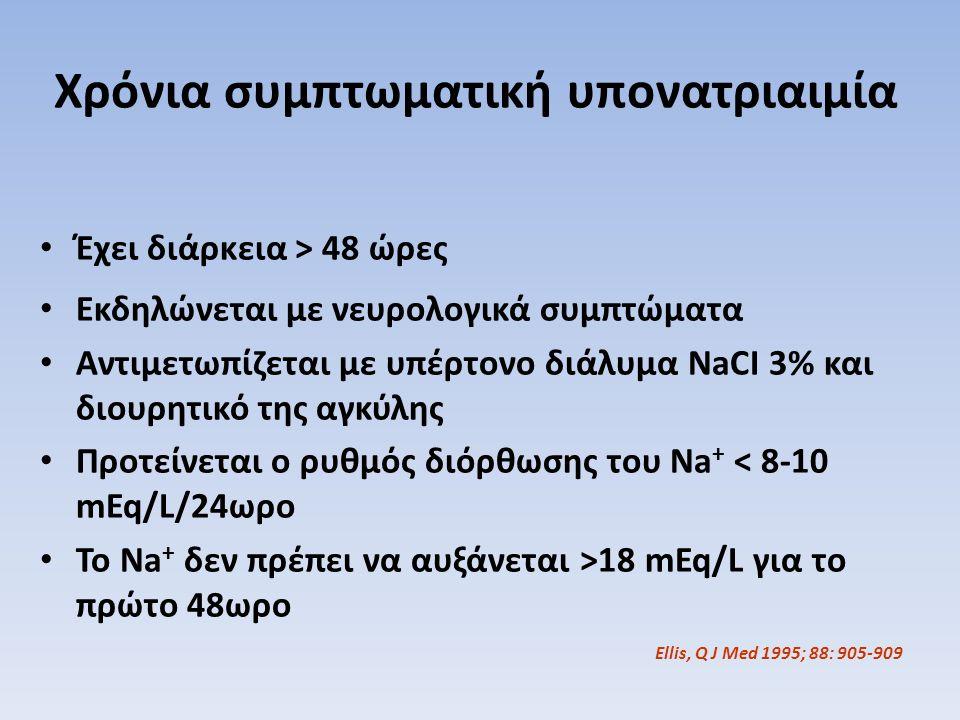 Χρόνια συμπτωματική υπονατριαιμία Έχει διάρκεια > 48 ώρες Εκδηλώνεται με νευρολογικά συμπτώματα Αντιμετωπίζεται με υπέρτονο διάλυμα NaCI 3% και διουρη