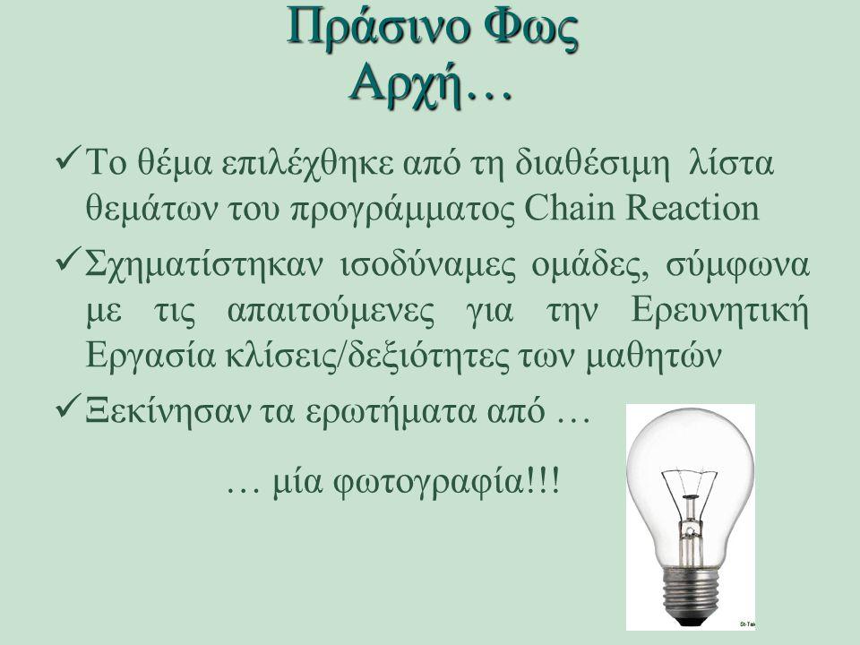 Πράσινο Φως Αρχή… Το θέμα επιλέχθηκε από τη διαθέσιμη λίστα θεμάτων του προγράμματος Chain Reaction Σχηματίστηκαν ισοδύναμες ομάδες, σύμφωνα με τις απαιτούμενες για την Ερευνητική Εργασία κλίσεις/δεξιότητες των μαθητών Ξεκίνησαν τα ερωτήματα από … … μία φωτογραφία!!!