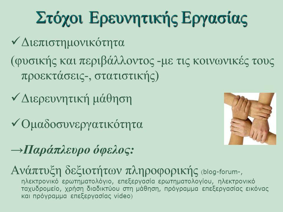 Στόχοι Ερευνητικής Εργασίας Διεπιστημονικότητα (φυσικής και περιβάλλοντος -με τις κοινωνικές τους προεκτάσεις-, στατιστικής) Διερευνητική μάθηση Ομαδοσυνεργατικότητα →Παράπλευρο όφελος: Ανάπτυξη δεξιοτήτων πληροφορικής ( blog-forum-, ηλεκτρονικό ερωτηματολόγιο, επεξεργασία ερωτηματολογίου, ηλεκτρονικό ταχυδρομείο, χρήση διαδικτύου στη μάθηση, πρόγραμμα επεξεργασίας εικόνας και πρόγραμμα επεξεργασίας video )