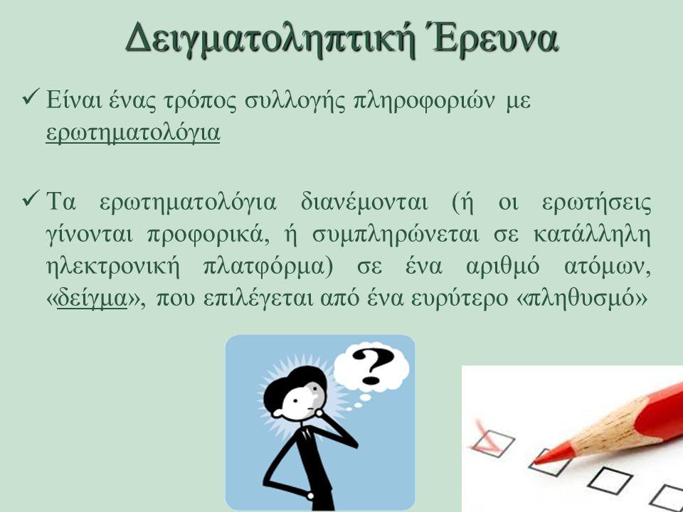 Δειγματοληπτική Έρευνα Είναι ένας τρόπος συλλογής πληροφοριών με ερωτηματολόγια Τα ερωτηματολόγια διανέμονται (ή οι ερωτήσεις γίνονται προφορικά, ή συμπληρώνεται σε κατάλληλη ηλεκτρονική πλατφόρμα) σε ένα αριθμό ατόμων, «δείγμα», που επιλέγεται από ένα ευρύτερο «πληθυσμό»