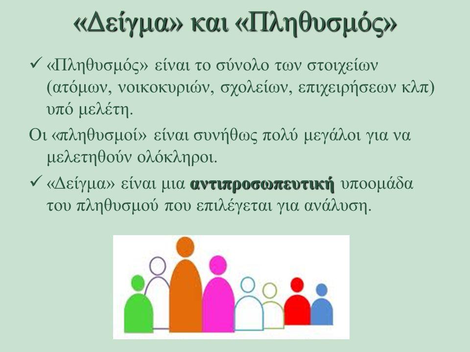 «Πληθυσμός» είναι το σύνολο των στοιχείων (ατόμων, νοικοκυριών, σχολείων, επιχειρήσεων κλπ) υπό μελέτη. Οι «πληθυσμοί» είναι συνήθως πολύ μεγάλοι για