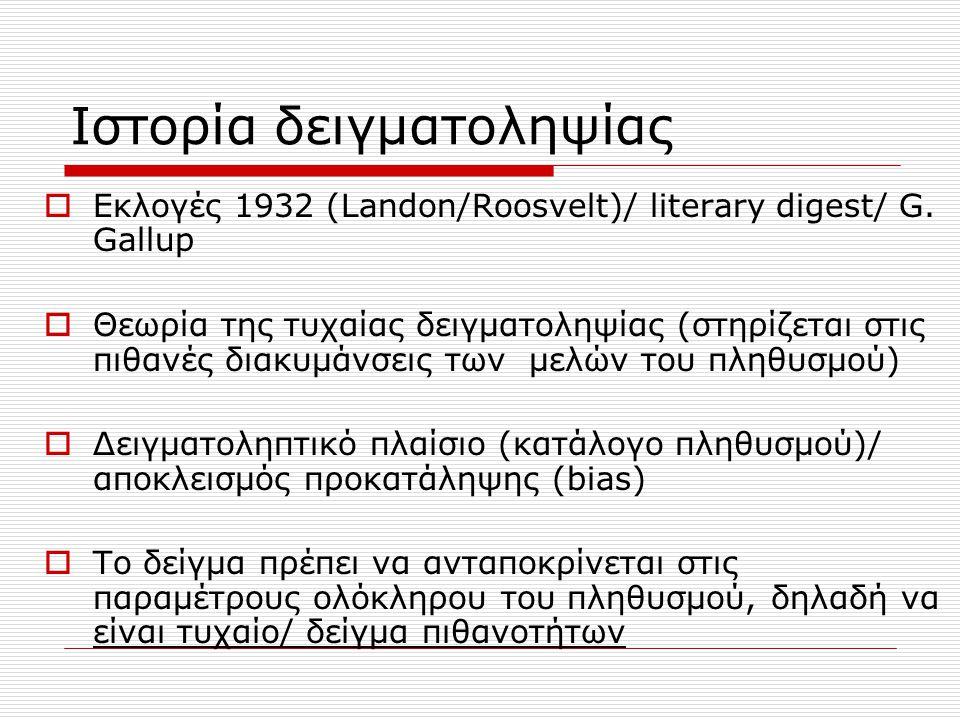 Ιστορία δειγματοληψίας  Εκλογές 1932 (Landon/Roosvelt)/ literary digest/ G. Gallup  Θεωρία της τυχαίας δειγματοληψίας (στηρίζεται στις πιθανές διακυ