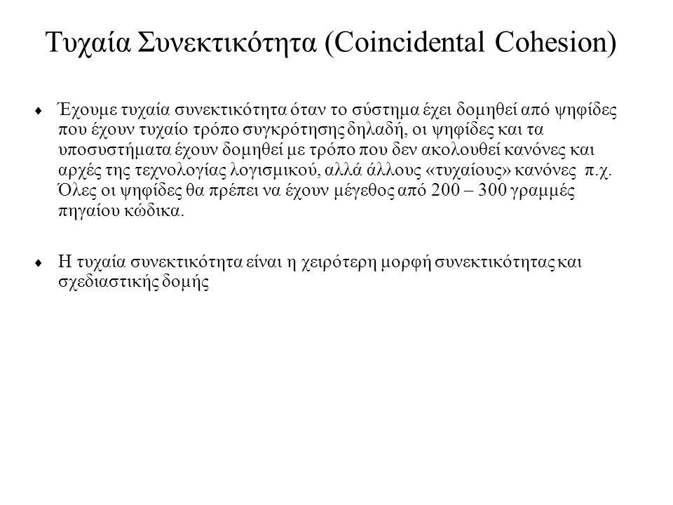 Τυχαία Συνεκτικότητα (Coincidental Cohesion)  Έχουμε τυχαία συνεκτικότητα όταν το σύστημα έχει δομηθεί από ψηφίδες που έχουν τυχαίο τρόπο συγκρότησης