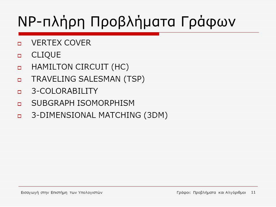 Εισαγωγή στην Επιστήμη των ΥπολογιστώνΓράφοι: Προβλήματα και Αλγόριθμοι 11 NP-πλήρη Προβλήματα Γράφων  VERTEX COVER  CLIQUE  HAMILTON CIRCUIT (HC)