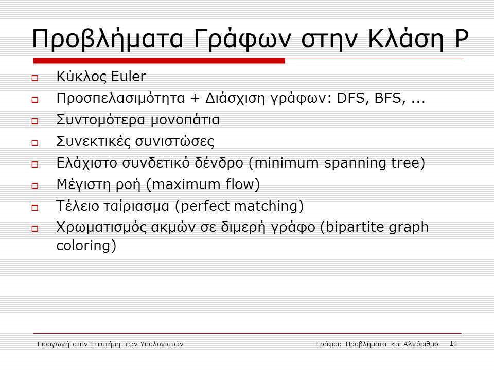 Εισαγωγή στην Επιστήμη των ΥπολογιστώνΓράφοι: Προβλήματα και Αλγόριθμοι 14 Προβλήματα Γράφων στην Κλάση P  Κύκλος Euler  Προσπελασιμότητα + Διάσχιση