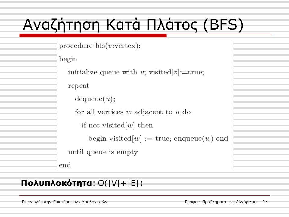 Εισαγωγή στην Επιστήμη των ΥπολογιστώνΓράφοι: Προβλήματα και Αλγόριθμοι 18 Αναζήτηση Κατά Πλάτος (BFS)  Πολυπλοκότητα: O(|V|+|E|) 