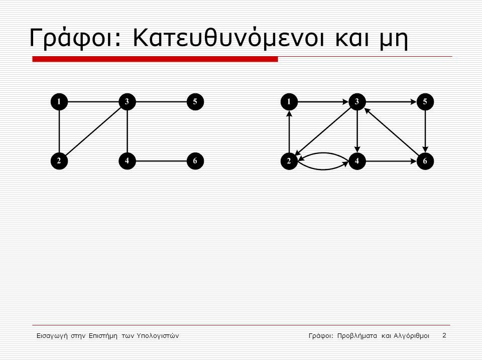 Εισαγωγή στην Επιστήμη των ΥπολογιστώνΓράφοι: Προβλήματα και Αλγόριθμοι 2 Γράφοι: Κατευθυνόμενοι και μη