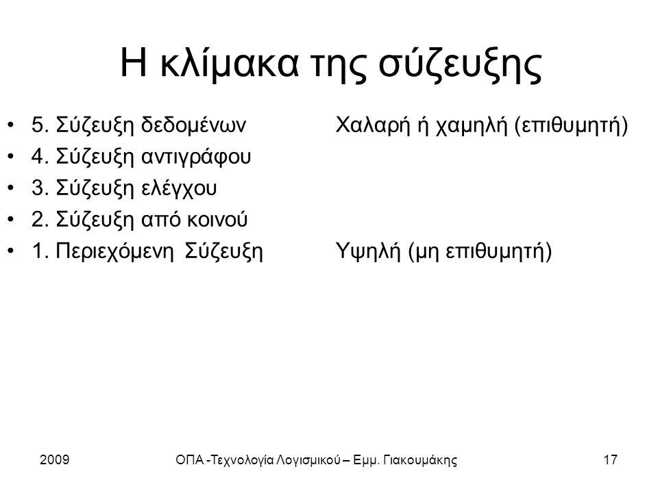2009ΟΠΑ -Τεχνολογία Λογισμικού – Εμμ. Γιακουμάκης17 Η κλίμακα της σύζευξης 5.
