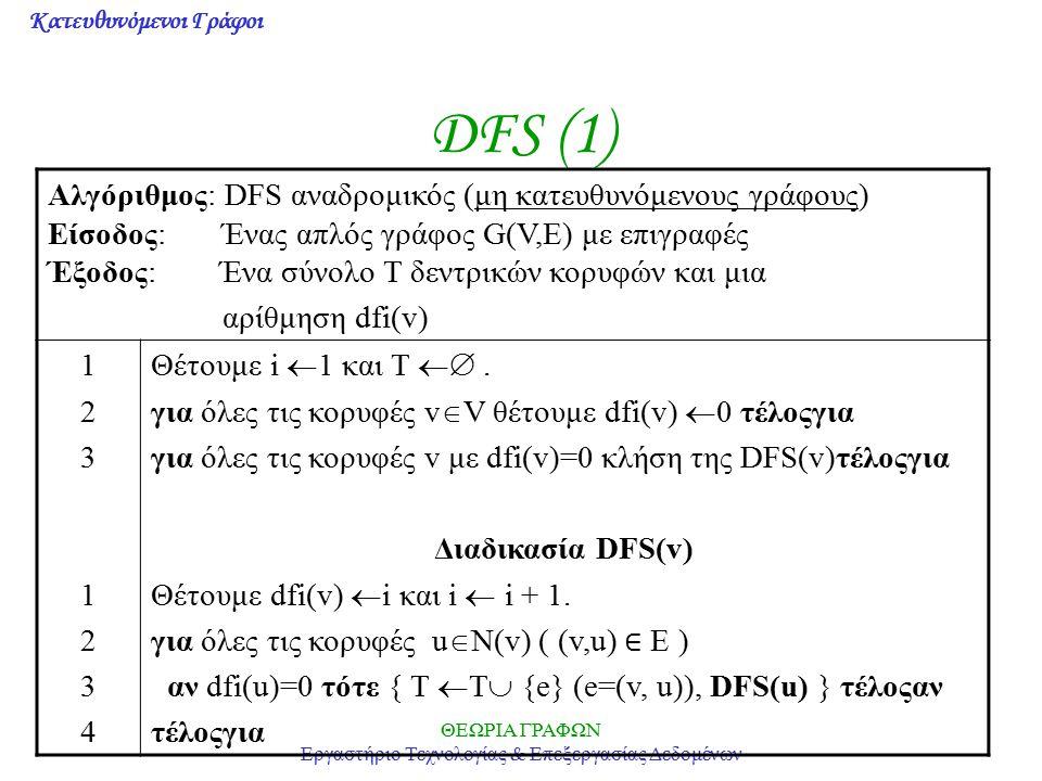 Κατευθυνόμενοι Γράφοι ΘΕΩΡΙΑ ΓΡΑΦΩΝ Εργαστήριο Τεχνολογίας & Επεξεργασίας Δεδομένων DFS (1) Αλγόριθμος: DFS αναδρομικός (μη κατευθυνόμενους γράφους) Ε
