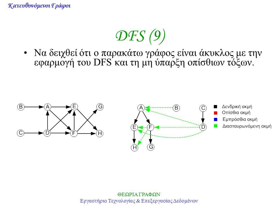 Κατευθυνόμενοι Γράφοι ΘΕΩΡΙΑ ΓΡΑΦΩΝ Εργαστήριο Τεχνολογίας & Επεξεργασίας Δεδομένων DFS (9) Να δειχθεί ότι ο παρακάτω γράφος είναι άκυκλος με την εφαρ