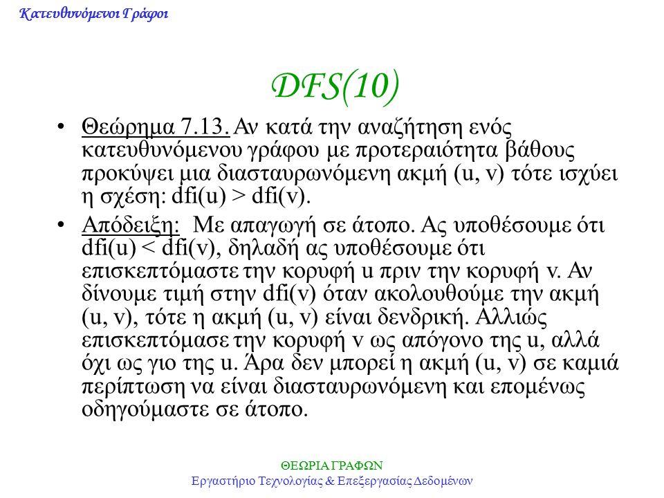 Κατευθυνόμενοι Γράφοι ΘΕΩΡΙΑ ΓΡΑΦΩΝ Εργαστήριο Τεχνολογίας & Επεξεργασίας Δεδομένων DFS(10) Θεώρημα 7.13. Αν κατά την αναζήτηση ενός κατευθυνόμενου γρ