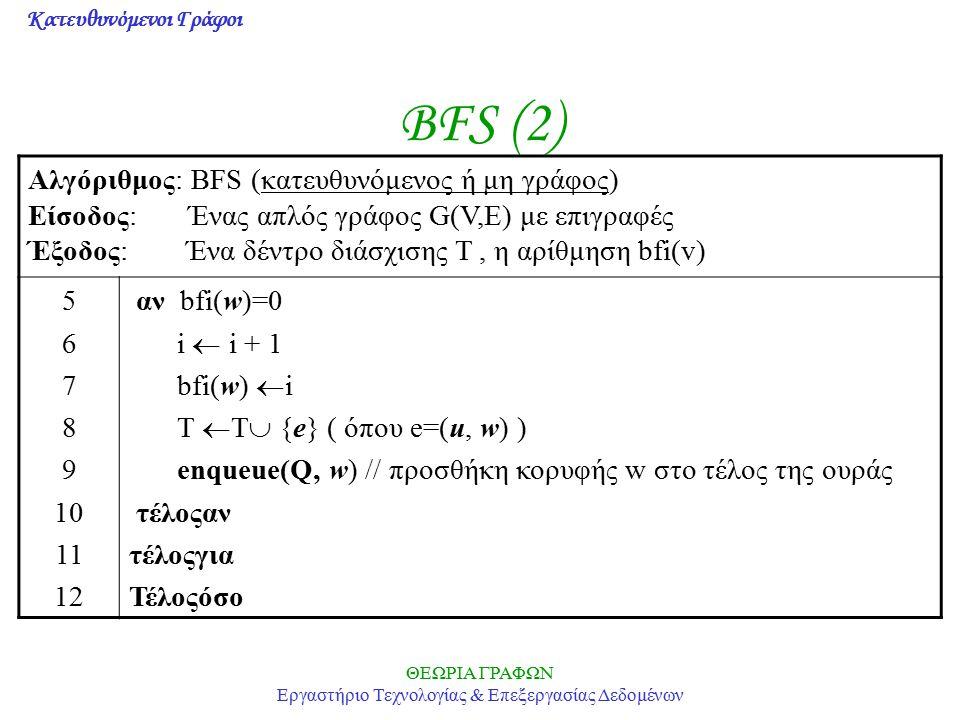 Κατευθυνόμενοι Γράφοι ΘΕΩΡΙΑ ΓΡΑΦΩΝ Εργαστήριο Τεχνολογίας & Επεξεργασίας Δεδομένων BFS (2) Αλγόριθμος: BFS (κατευθυνόμενος ή μη γράφος) Είσοδος: Ένας