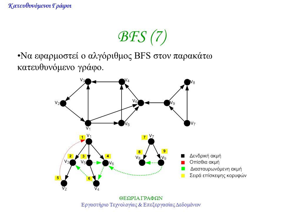 Κατευθυνόμενοι Γράφοι ΘΕΩΡΙΑ ΓΡΑΦΩΝ Εργαστήριο Τεχνολογίας & Επεξεργασίας Δεδομένων BFS (7) Να εφαρμοστεί ο αλγόριθμος BFS στον παρακάτω κατευθυνόμενο