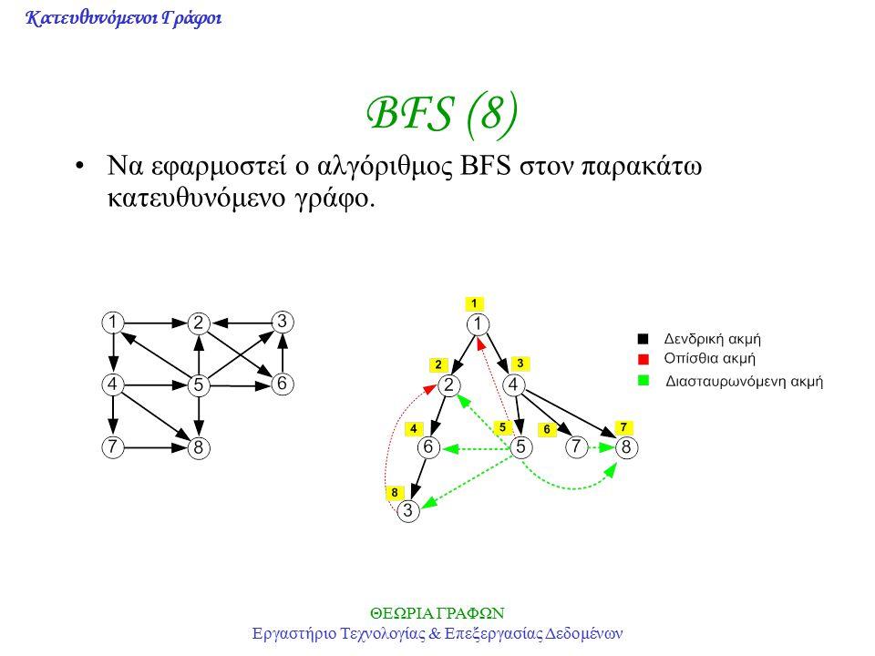 Κατευθυνόμενοι Γράφοι ΘΕΩΡΙΑ ΓΡΑΦΩΝ Εργαστήριο Τεχνολογίας & Επεξεργασίας Δεδομένων BFS (8) Να εφαρμοστεί ο αλγόριθμος BFS στον παρακάτω κατευθυνόμενο