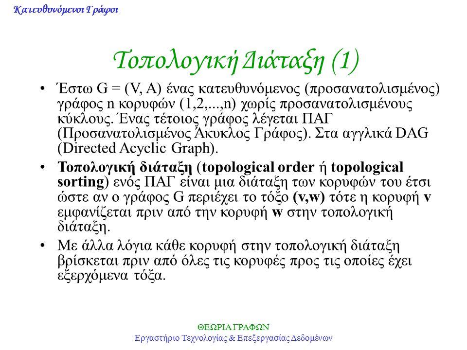 Κατευθυνόμενοι Γράφοι ΘΕΩΡΙΑ ΓΡΑΦΩΝ Εργαστήριο Τεχνολογίας & Επεξεργασίας Δεδομένων Τοπολογική Διάταξη (1) Έστω G = (V, Α) ένας κατευθυνόμενος (προσαν