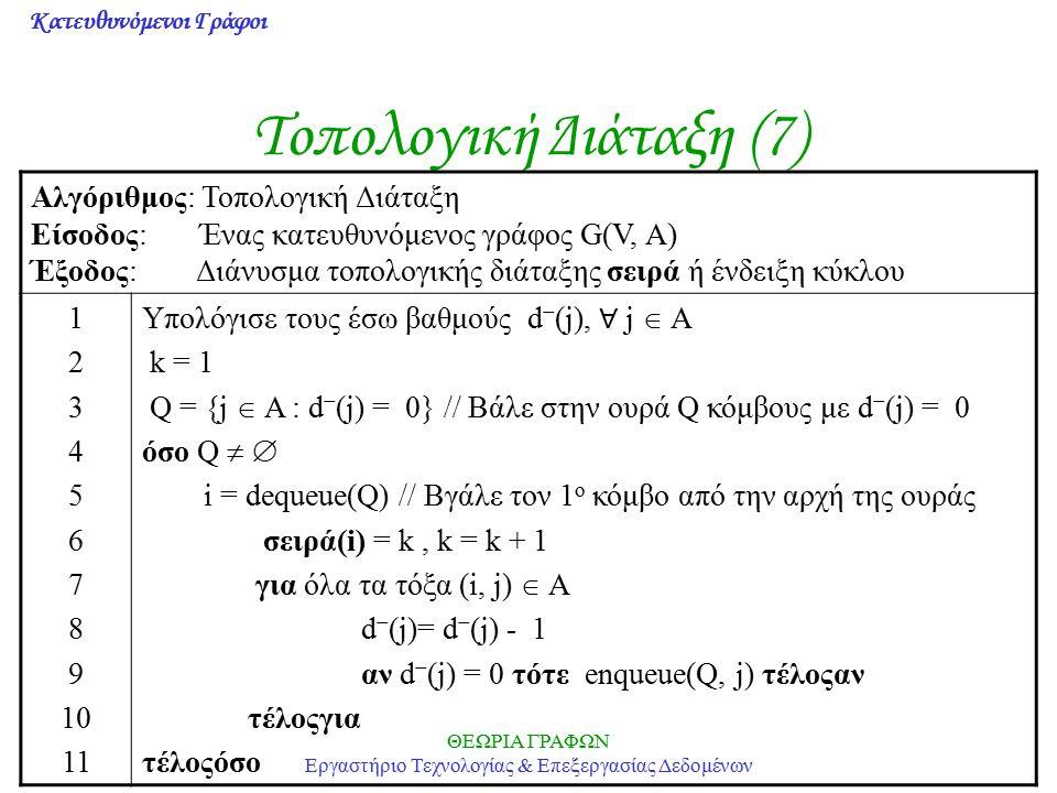 Κατευθυνόμενοι Γράφοι ΘΕΩΡΙΑ ΓΡΑΦΩΝ Εργαστήριο Τεχνολογίας & Επεξεργασίας Δεδομένων Τοπολογική Διάταξη (7) Αλγόριθμος: Τοπολογική Διάταξη Είσοδος: Ένα
