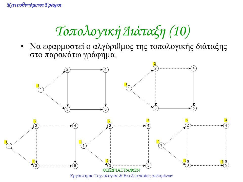 Κατευθυνόμενοι Γράφοι ΘΕΩΡΙΑ ΓΡΑΦΩΝ Εργαστήριο Τεχνολογίας & Επεξεργασίας Δεδομένων Τοπολογική Διάταξη (10) Να εφαρμοστεί ο αλγόριθμος της τοπολογικής
