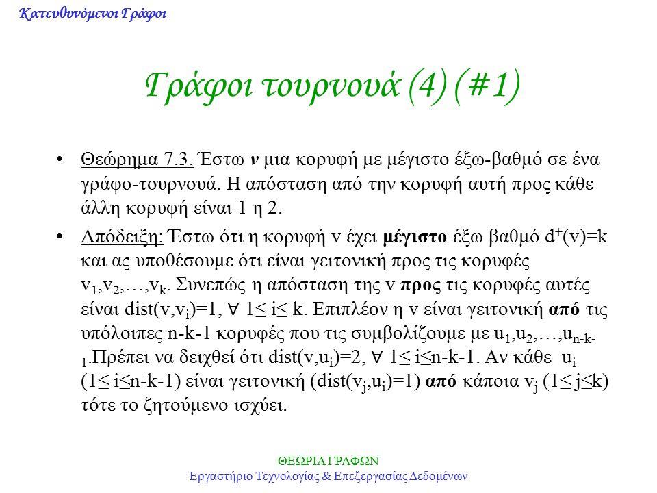 Κατευθυνόμενοι Γράφοι ΘΕΩΡΙΑ ΓΡΑΦΩΝ Εργαστήριο Τεχνολογίας & Επεξεργασίας Δεδομένων Γράφοι τουρνουά (4) (#1) Θεώρημα 7.3. Έστω v μια κορυφή με μέγιστο
