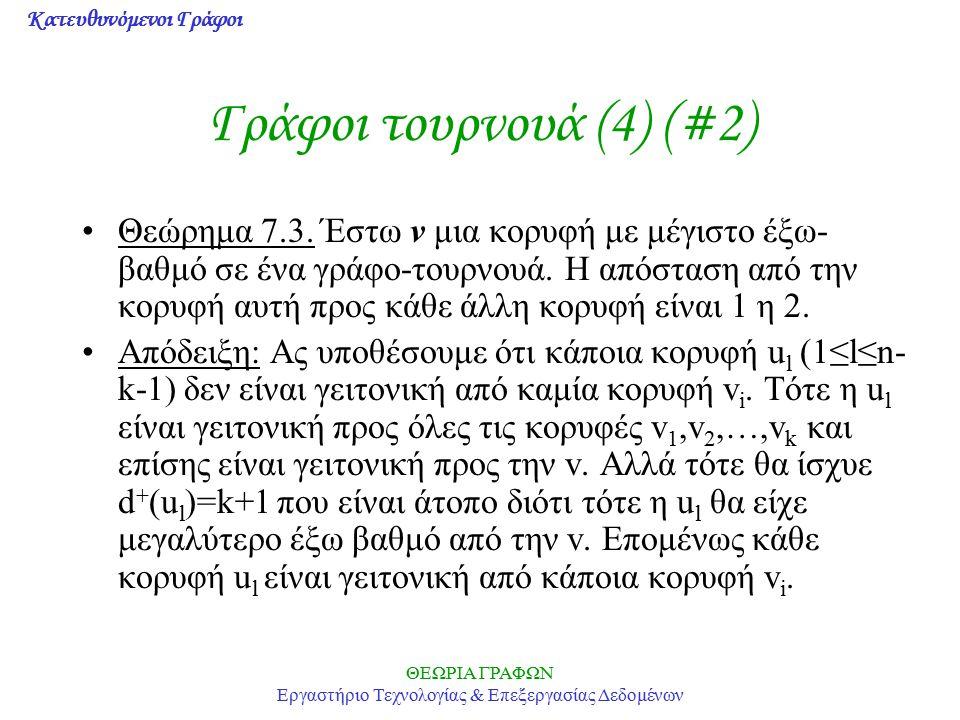 Κατευθυνόμενοι Γράφοι ΘΕΩΡΙΑ ΓΡΑΦΩΝ Εργαστήριο Τεχνολογίας & Επεξεργασίας Δεδομένων Γράφοι τουρνουά (4) (#2) Θεώρημα 7.3. Έστω v μια κορυφή με μέγιστο