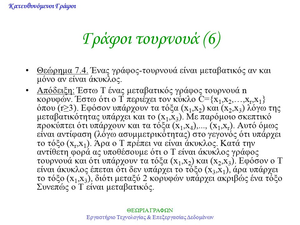 Κατευθυνόμενοι Γράφοι ΘΕΩΡΙΑ ΓΡΑΦΩΝ Εργαστήριο Τεχνολογίας & Επεξεργασίας Δεδομένων Γράφοι τουρνουά (6) Θεώρημα 7.4. Ένας γράφος-τουρνουά είναι μεταβα