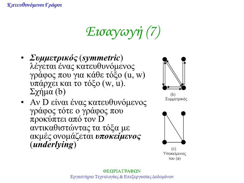 Κατευθυνόμενοι Γράφοι ΘΕΩΡΙΑ ΓΡΑΦΩΝ Εργαστήριο Τεχνολογίας & Επεξεργασίας Δεδομένων Εισαγωγή (7) Συμμετρικός (symmetric) λέγεται ένας κατευθυνόμενος γ