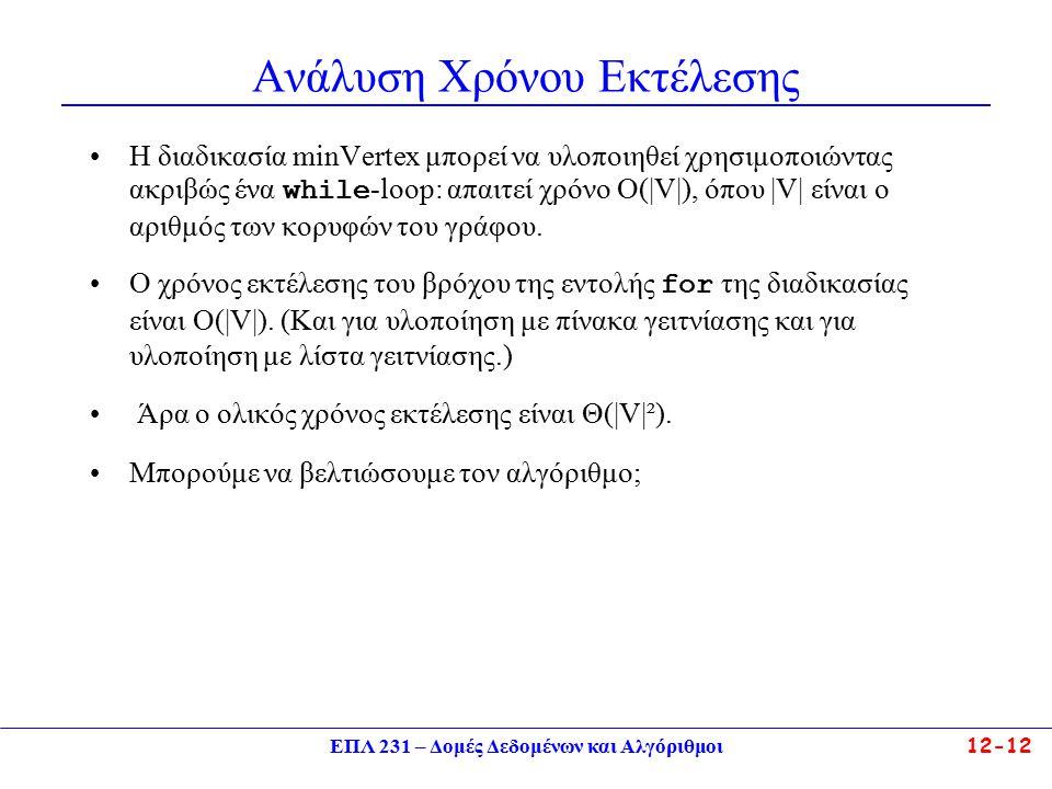 ΕΠΛ 231 – Δομές Δεδομένων και Αλγόριθμοι12-12 Ανάλυση Χρόνου Εκτέλεσης Η διαδικασία minVertex μπορεί να υλοποιηθεί χρησιμοποιώντας ακριβώς ένα while -loop: απαιτεί χρόνο Ο(|V|), όπου |V| είναι ο αριθμός των κορυφών του γράφου.