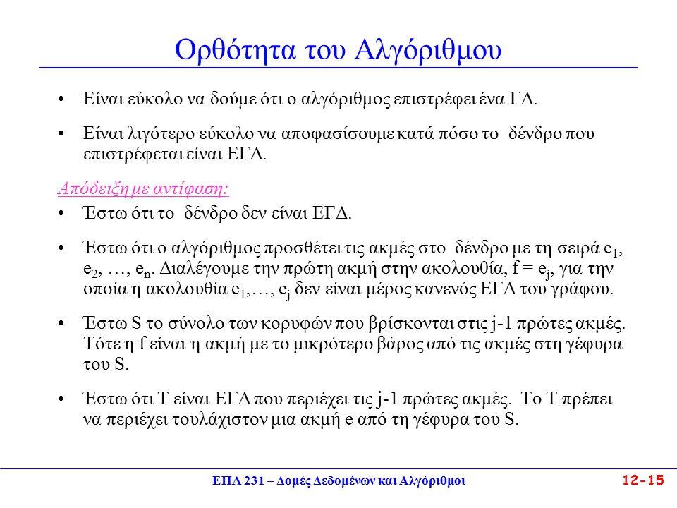 ΕΠΛ 231 – Δομές Δεδομένων και Αλγόριθμοι12-15 Ορθότητα του Αλγόριθμου Είναι εύκολο να δούμε ότι ο αλγόριθμος επιστρέφει ένα ΓΔ.