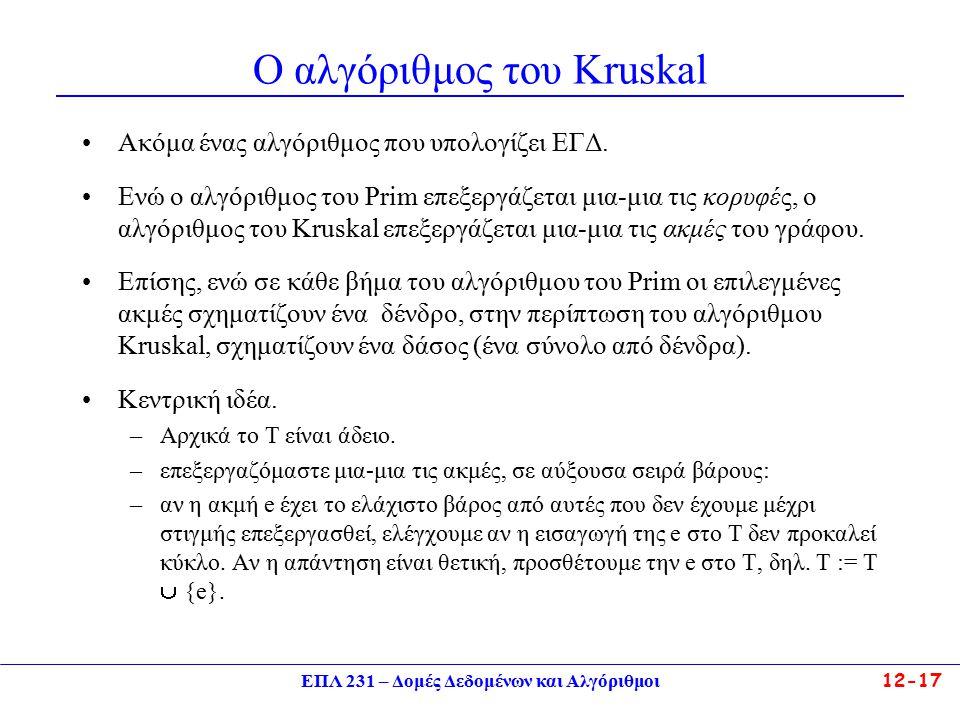 ΕΠΛ 231 – Δομές Δεδομένων και Αλγόριθμοι12-17 Ο αλγόριθμος του Kruskal Ακόμα ένας αλγόριθμος που υπολογίζει ΕΓΔ.