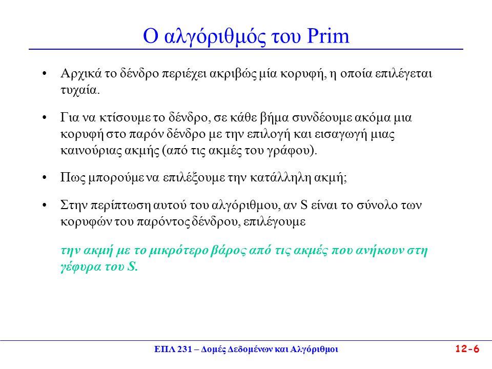 ΕΠΛ 231 – Δομές Δεδομένων και Αλγόριθμοι12-6 Ο αλγόριθμός του Prim Αρχικά το δένδρο περιέχει ακριβώς μία κορυφή, η οποία επιλέγεται τυχαία.