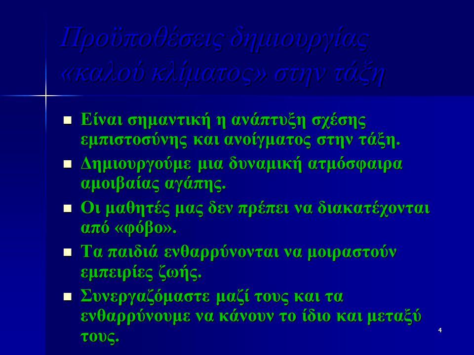 15 Δομές ψυχολογικού κλίματος(Ι) Οργάνωση μαθήματος Οργάνωση μαθήματος Χώρος διοίκησης και διευθέτηση εσωτερικού χώρου της τάξης Χώρος διοίκησης και διευθέτηση εσωτερικού χώρου της τάξης Πλέγμα διαπροσωπικών σχέσεων των μελών της τάξης.