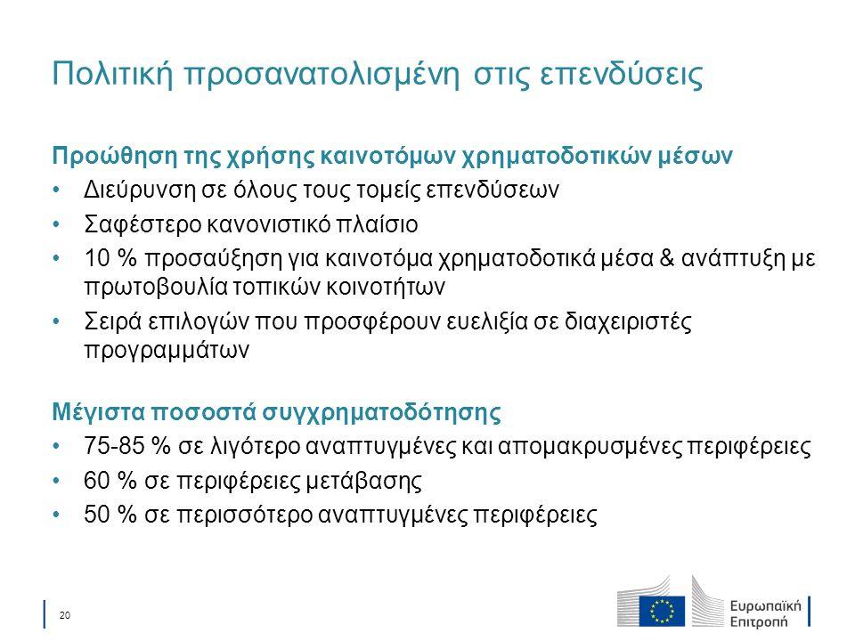 │ 20 Πολιτική προσανατολισμένη στις επενδύσεις Προώθηση της χρήσης καινοτόμων χρηματοδοτικών μέσων Διεύρυνση σε όλους τους τομείς επενδύσεων Σαφέστερο