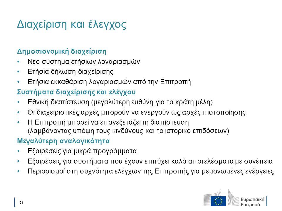 │ 21 Διαχείριση και έλεγχος Δημοσιονομική διαχείριση Νέο σύστημα ετήσιων λογαριασμών Ετήσια δήλωση διαχείρισης Ετήσια εκκαθάριση λογαριασμών από την Ε