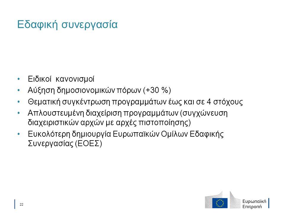 │ 22 Εδαφική συνεργασία Ειδικοί κανονισμοί Αύξηση δημοσιονομικών πόρων (+30 %) Θεματική συγκέντρωση προγραμμάτων έως και σε 4 στόχους Απλουστευμένη δι