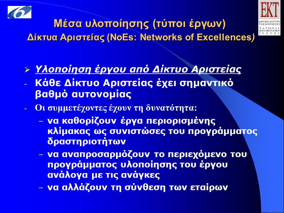 Μέσα υλοποίησης (τύποι έργων) Δίκτυα Αριστείας (NoEs: Networks of Excellences)  Υλοποίηση έργου από Δίκτυο Αριστείας - Κάθε Δίκτυο Αριστείας έχει σημαντικό βαθμό αυτονομίας - Οι συμμετέχοντες έχουν τη δυνατότητα: – να καθορίζουν έργα περιορισμένης κλίμακας ως συνιστώσες του προγράμματος δραστηριοτήτων – να αναπροσαρμόζουν το περιεχόμενο του προγράμματος υλοποίησης του έργου ανάλογα με τις ανάγκες – να αλλάζουν τη σύνθεση των εταίρων