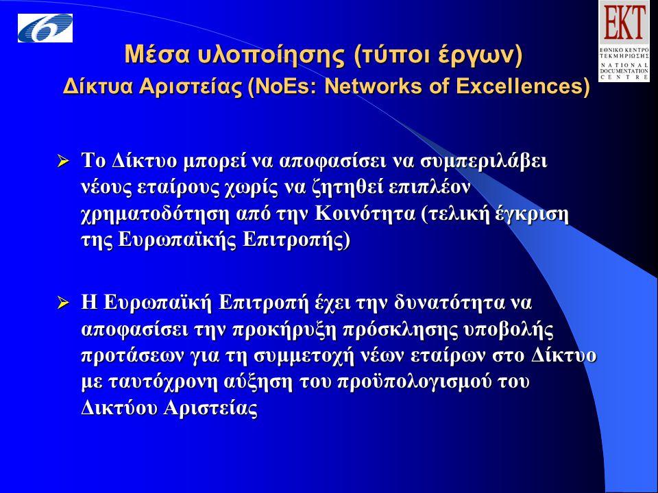 Μέσα υλοποίησης (τύποι έργων) Δίκτυα Αριστείας (NoEs: Networks of Excellences)  Το Δίκτυο μπορεί να αποφασίσει να συμπεριλάβει νέους εταίρους χωρίς να ζητηθεί επιπλέον χρηματοδότηση από την Κοινότητα (τελική έγκριση της Ευρωπαϊκής Επιτροπής)  Η Ευρωπαϊκή Επιτροπή έχει την δυνατότητα να αποφασίσει την προκήρυξη πρόσκλησης υποβολής προτάσεων για τη συμμετοχή νέων εταίρων στο Δίκτυο με ταυτόχρονη αύξηση του προϋπολογισμού του Δικτύου Αριστείας