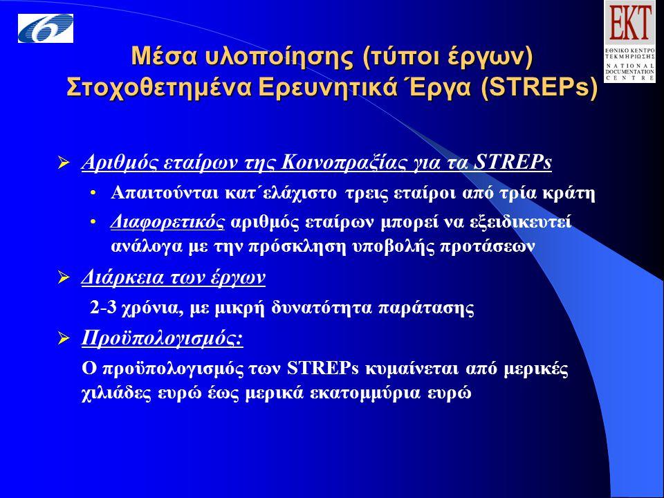 Μέσα υλοποίησης (τύποι έργων) Στοχοθετημένα Ερευνητικά Έργα (STREPs)  Αριθμός εταίρων της Κοινοπραξίας για τα STREPs Απαιτούνται κατ΄ελάχιστο τρεις εταίροι από τρία κράτη Διαφορετικός αριθμός εταίρων μπορεί να εξειδικευτεί ανάλογα με την πρόσκληση υποβολής προτάσεων  Διάρκεια των έργων 2-3 χρόνια, με μικρή δυνατότητα παράτασης  Προϋπολογισμός: Ο προϋπολογισμός των STREPs κυμαίνεται από μερικές χιλιάδες ευρώ έως μερικά εκατομμύρια ευρώ