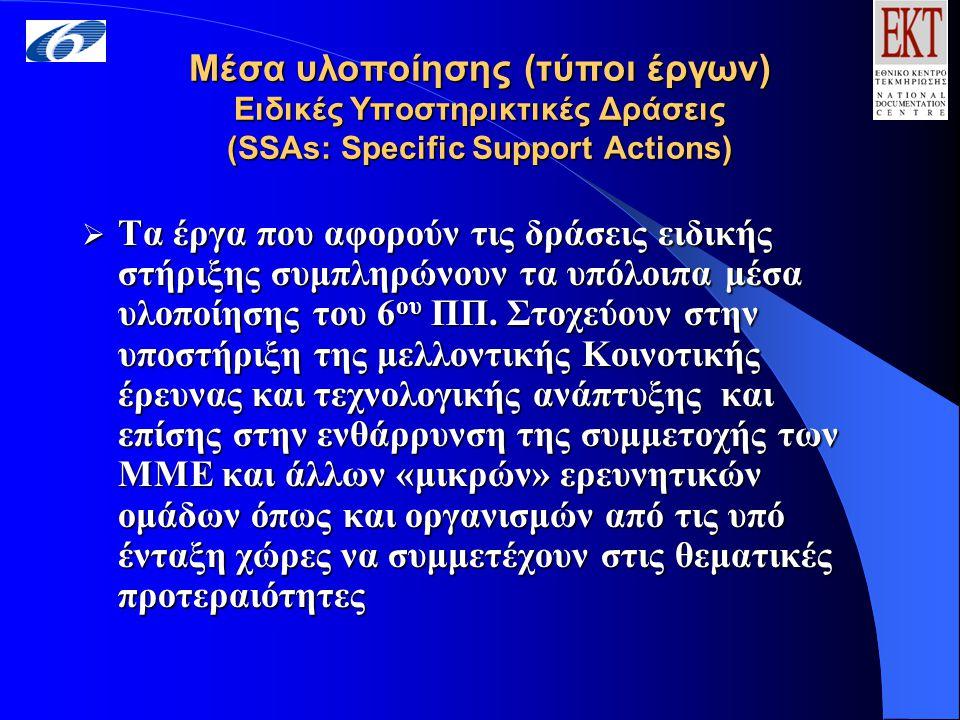 Μέσα υλοποίησης (τύποι έργων) Ειδικές Υποστηρικτικές Δράσεις (SSAs: Specific Support Actions) Μέσα υλοποίησης (τύποι έργων) Ειδικές Υποστηρικτικές Δράσεις (SSAs: Specific Support Actions)  Τα έργα που αφορούν τις δράσεις ειδικής στήριξης συμπληρώνουν τα υπόλοιπα μέσα υλοποίησης του 6 ου ΠΠ.