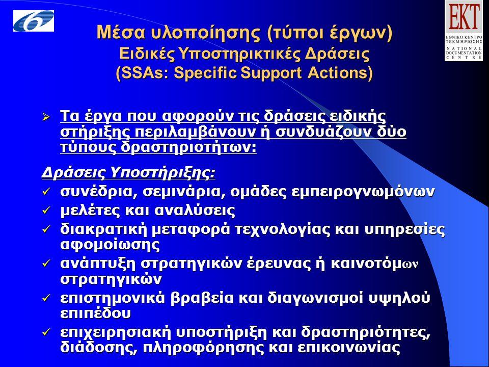 Μέσα υλοποίησης (τύποι έργων) Ειδικές Υποστηρικτικές Δράσεις (SSAs: Specific Support Actions)  Τα έργα που αφορούν τις δράσεις ειδικής στήριξης περιλαμβάνουν ή συνδυάζουν δύο τύπους δραστηριοτήτων: Δράσεις Υποστήριξης: συνέδρια, σεμινάρια, ομάδες εμπειρογνωμόνων συνέδρια, σεμινάρια, ομάδες εμπειρογνωμόνων μελέτες και αναλύσεις μελέτες και αναλύσεις διακρατική μεταφορά τεχνολογίας και υπηρεσίες αφομοίωσης διακρατική μεταφορά τεχνολογίας και υπηρεσίες αφομοίωσης ανάπτυξη στρατηγικών έρευνας ή καινοτόμ ων στρατηγικών ανάπτυξη στρατηγικών έρευνας ή καινοτόμ ων στρατηγικών επιστημονικά βραβεία και διαγωνισμοί υψηλού επιπέδου επιστημονικά βραβεία και διαγωνισμοί υψηλού επιπέδου επιχειρησιακή υποστήριξη και δραστηριότητες, διάδοσης, πληροφόρησης και επικοινωνίας επιχειρησιακή υποστήριξη και δραστηριότητες, διάδοσης, πληροφόρησης και επικοινωνίας Δράσεις διαχείρισης έργου