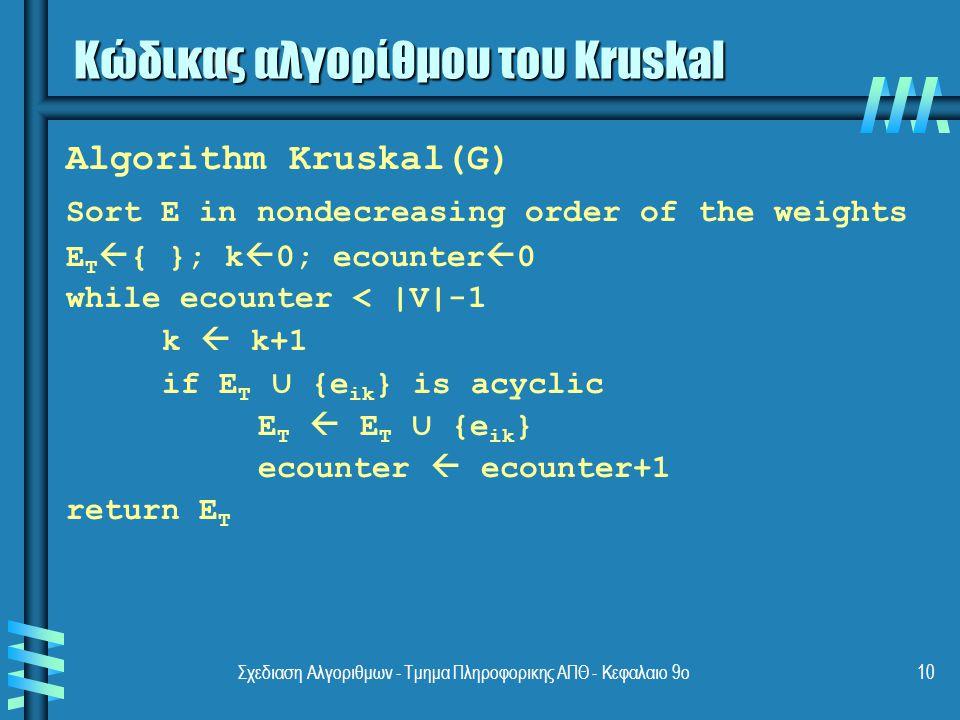 Σχεδιαση Αλγοριθμων - Τμημα Πληροφορικης ΑΠΘ - Κεφαλαιο 9ο10 Κώδικας αλγορίθμου του Kruskal Algorithm Kruskal(G) Sort E in nondecreasing order of the weights E T  { }; k  0; ecounter  0 while ecounter < |V|-1 k  k+1 if E T ∪ {e ik } is acyclic E T  E T ∪ {e ik } ecounter  ecounter+1 return E T