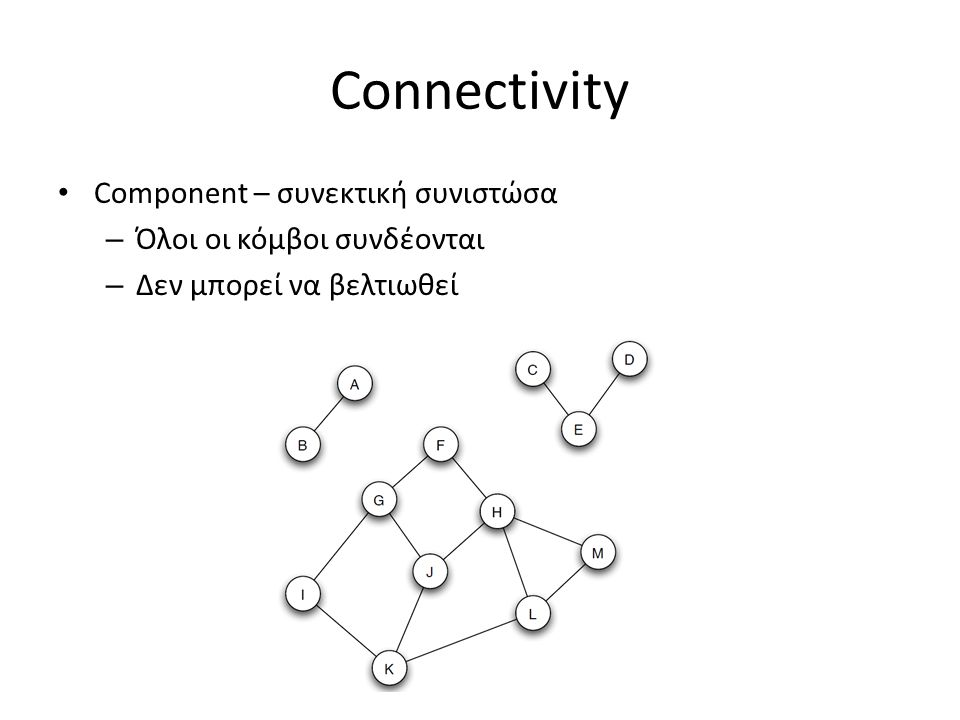 Connectivity Component – συνεκτική συνιστώσα – Όλοι οι κόμβοι συνδέονται – Δεν μπορεί να βελτιωθεί