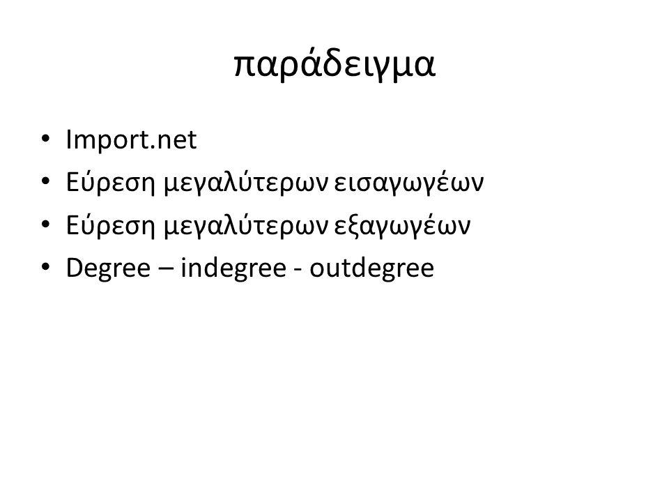 παράδειγμα Import.net Εύρεση μεγαλύτερων εισαγωγέων Εύρεση μεγαλύτερων εξαγωγέων Degree – indegree - outdegree