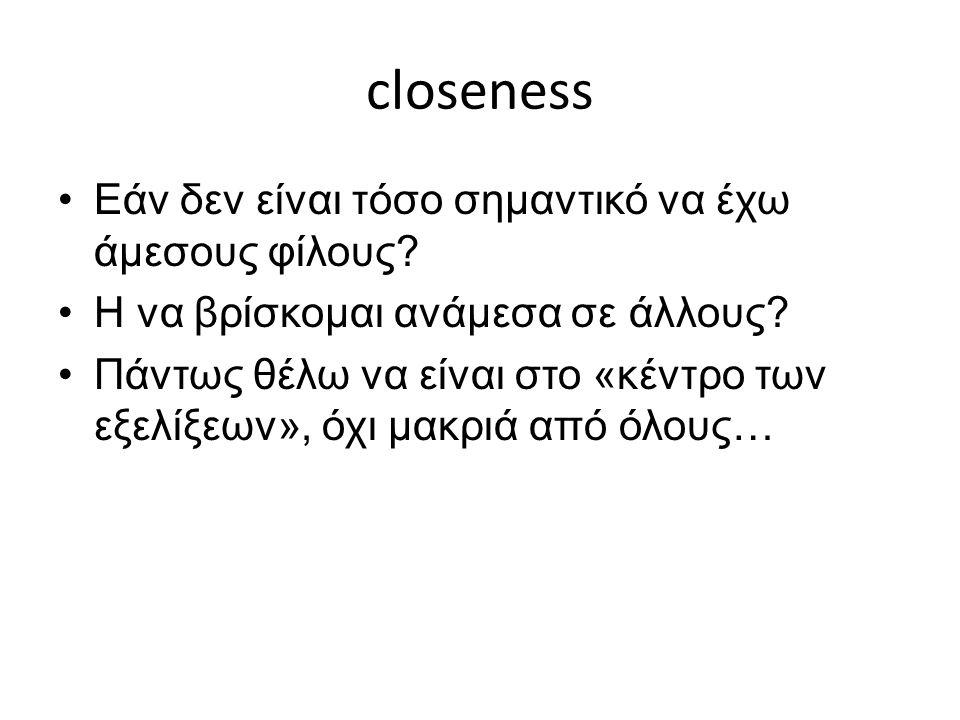 closeness Εάν δεν είναι τόσο σημαντικό να έχω άμεσους φίλους.
