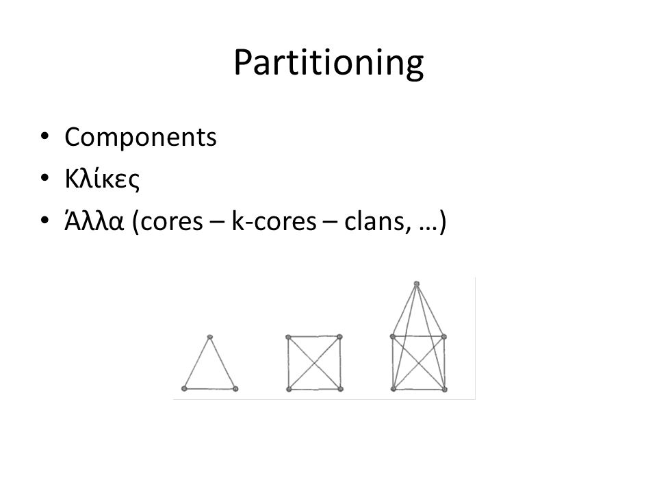 Partitioning Components Κλίκες Άλλα (cores – k-cores – clans, …)