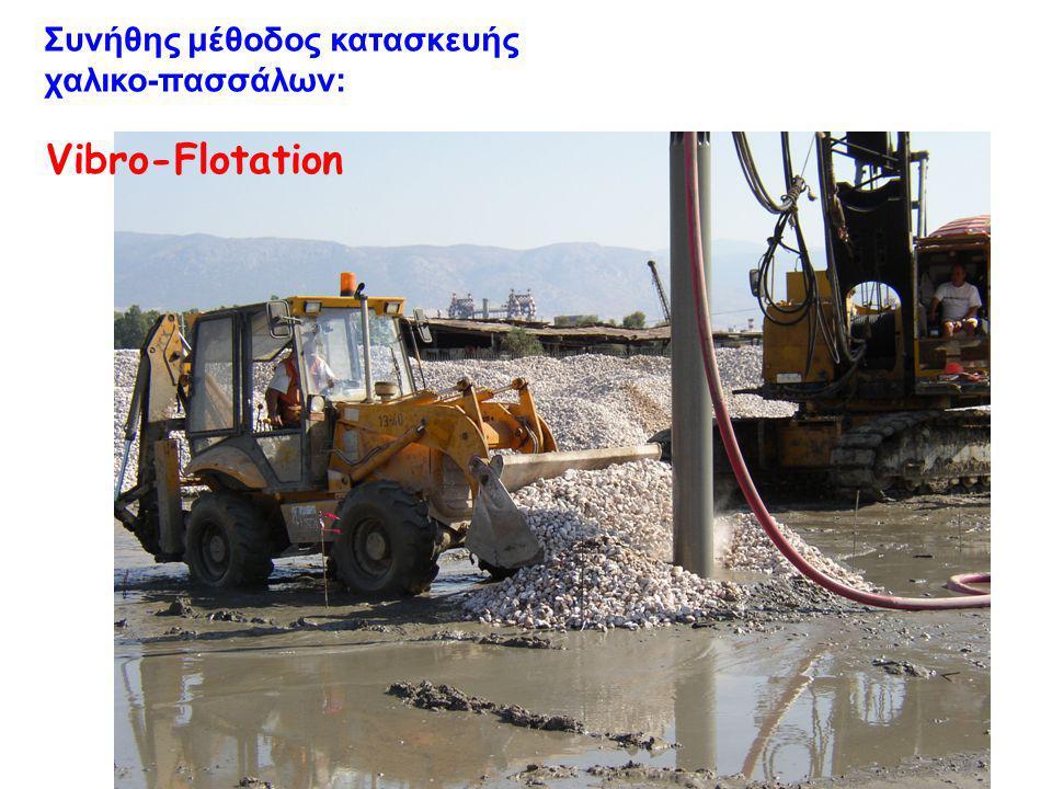 Vibro-Flotation Συνήθης μέθοδος κατασκευής χαλικο-πασσάλων: