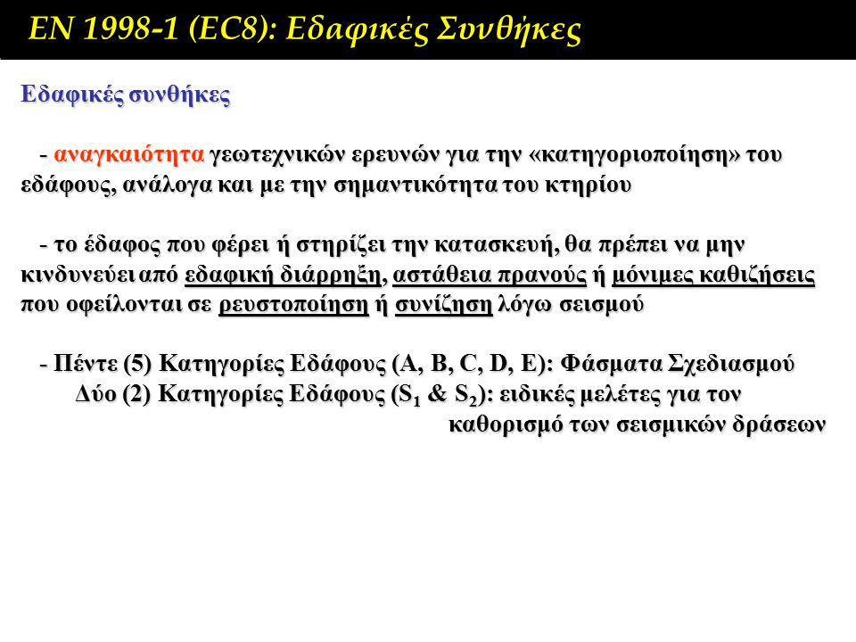 ΕΝ 1998-1 (EC8): Εδαφικές Συνθήκες Εδαφικές συνθήκες - αναγκαιότητα γεωτεχνικών ερευνών για την «κατηγοριοποίηση» του εδάφους, ανάλογα και με την σημαντικότητα του κτηρίου - αναγκαιότητα γεωτεχνικών ερευνών για την «κατηγοριοποίηση» του εδάφους, ανάλογα και με την σημαντικότητα του κτηρίου - το έδαφος που φέρει ή στηρίζει την κατασκευή, θα πρέπει να μην κινδυνεύει από εδαφική διάρρηξη, αστάθεια πρανούς ή μόνιμες καθιζήσεις που οφείλονται σε ρευστοποίηση ή συνίζηση λόγω σεισμού - το έδαφος που φέρει ή στηρίζει την κατασκευή, θα πρέπει να μην κινδυνεύει από εδαφική διάρρηξη, αστάθεια πρανούς ή μόνιμες καθιζήσεις που οφείλονται σε ρευστοποίηση ή συνίζηση λόγω σεισμού - Πέντε (5) Κατηγορίες Εδάφους (Α, Β, C, D, E): Φάσματα Σχεδιασμού - Πέντε (5) Κατηγορίες Εδάφους (Α, Β, C, D, E): Φάσματα Σχεδιασμού Δύο (2) Κατηγορίες Εδάφους (S 1 & S 2 ): ειδικές μελέτες για τον καθορισμό των σεισμικών δράσεων Δύο (2) Κατηγορίες Εδάφους (S 1 & S 2 ): ειδικές μελέτες για τον καθορισμό των σεισμικών δράσεων