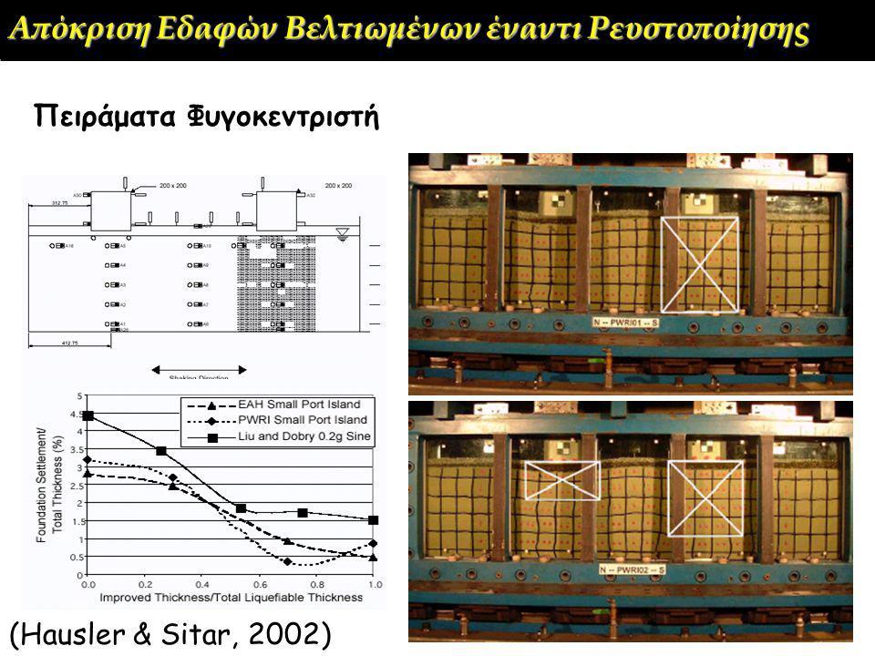 (Hausler & Sitar, 2002) Πειράματα Φυγοκεντριστή Απόκριση Εδαφών Βελτιωμένων έναντι Ρευστοποίησης