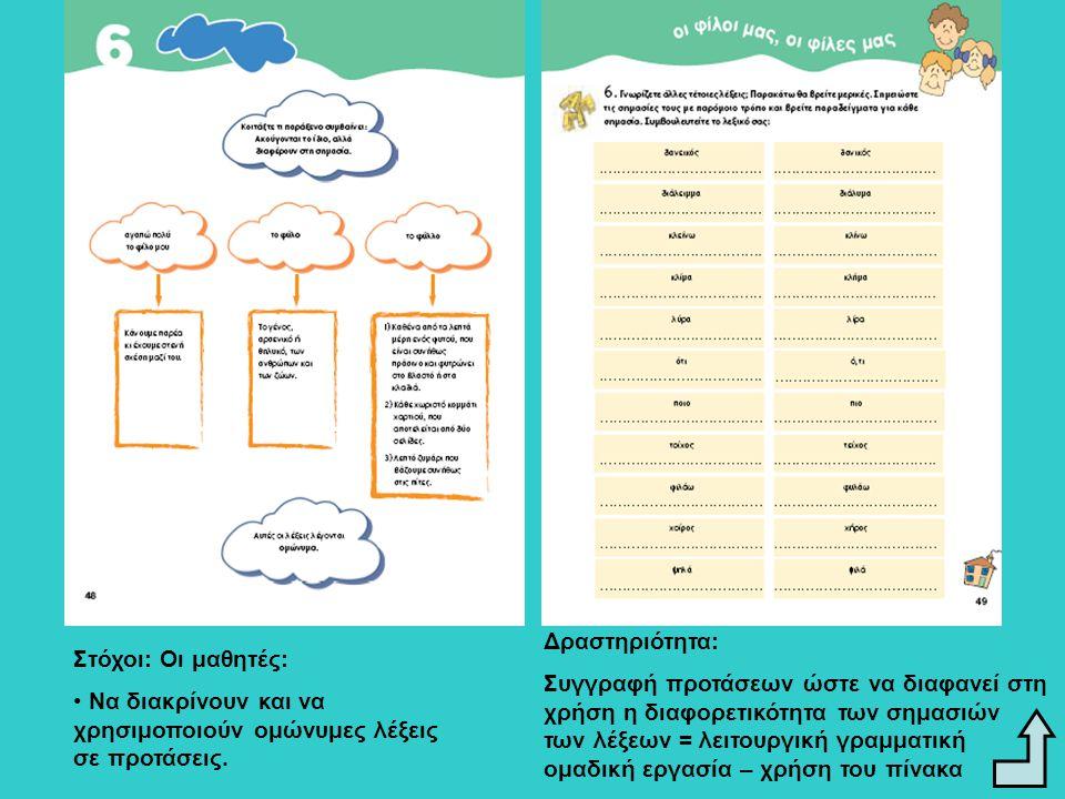 Συγγραφή προτάσεων ώστε να διαφανεί στη χρήση η διαφορετικότητα των σημασιών των λέξεων = λειτουργική γραμματική ομαδική εργασία – χρήση του πίνακα Στόχοι: Οι μαθητές: Να διακρίνουν και να χρησιμοποιούν παρώνυμες λέξεις σε προτάσεις.